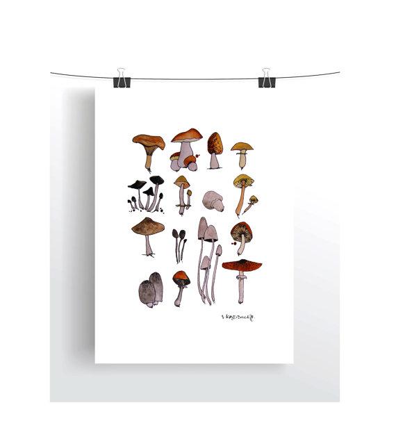 mushroom watercolor