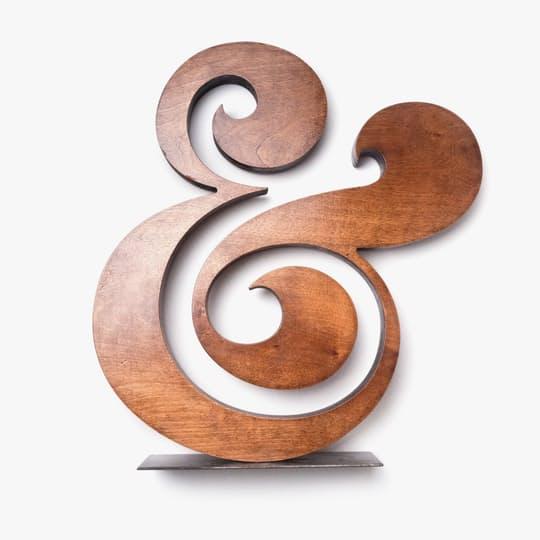premium wood ampersand